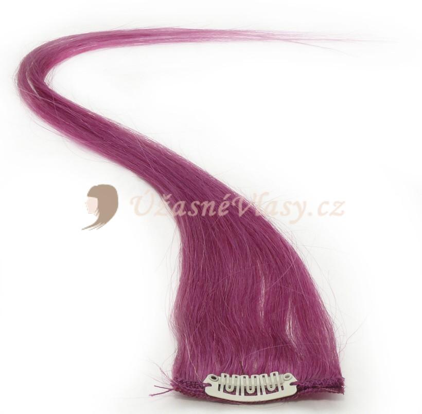 Fialové vlasy k prodloužení - Clip in prameny, 50 cm (PURPLE)