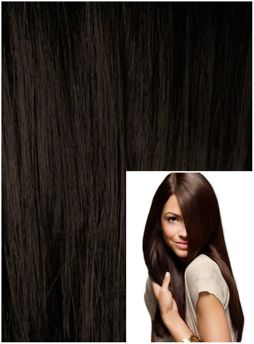 DELUXE Clip in 40cm 140g REMY lidské vlasy - TMAVĚ HNĚDÉ