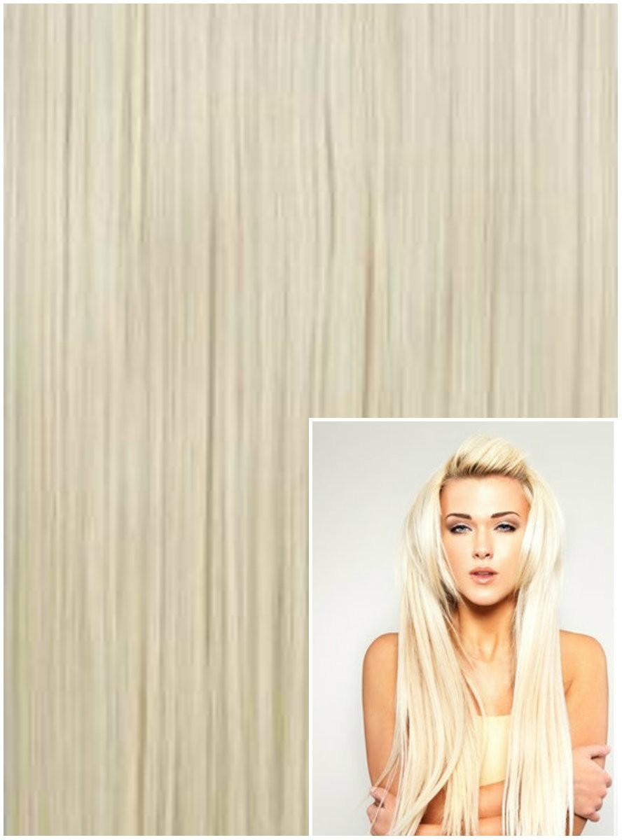 DELUXE Clip in 40cm 140g REMY lidské vlasy - PLATINOVÉ