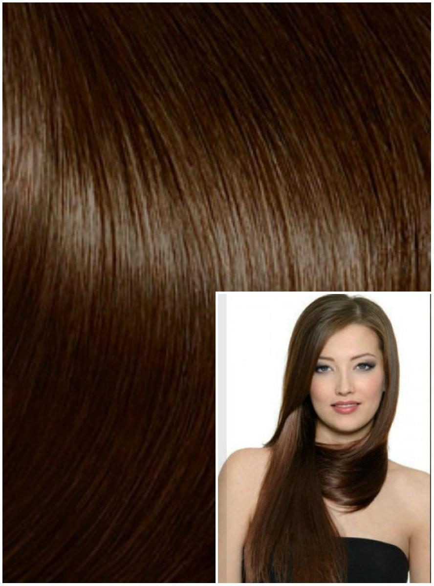 DELUXE Clip in 50cm 200g REMY lidské vlasy - STŘEDNĚ HNĚDÉ