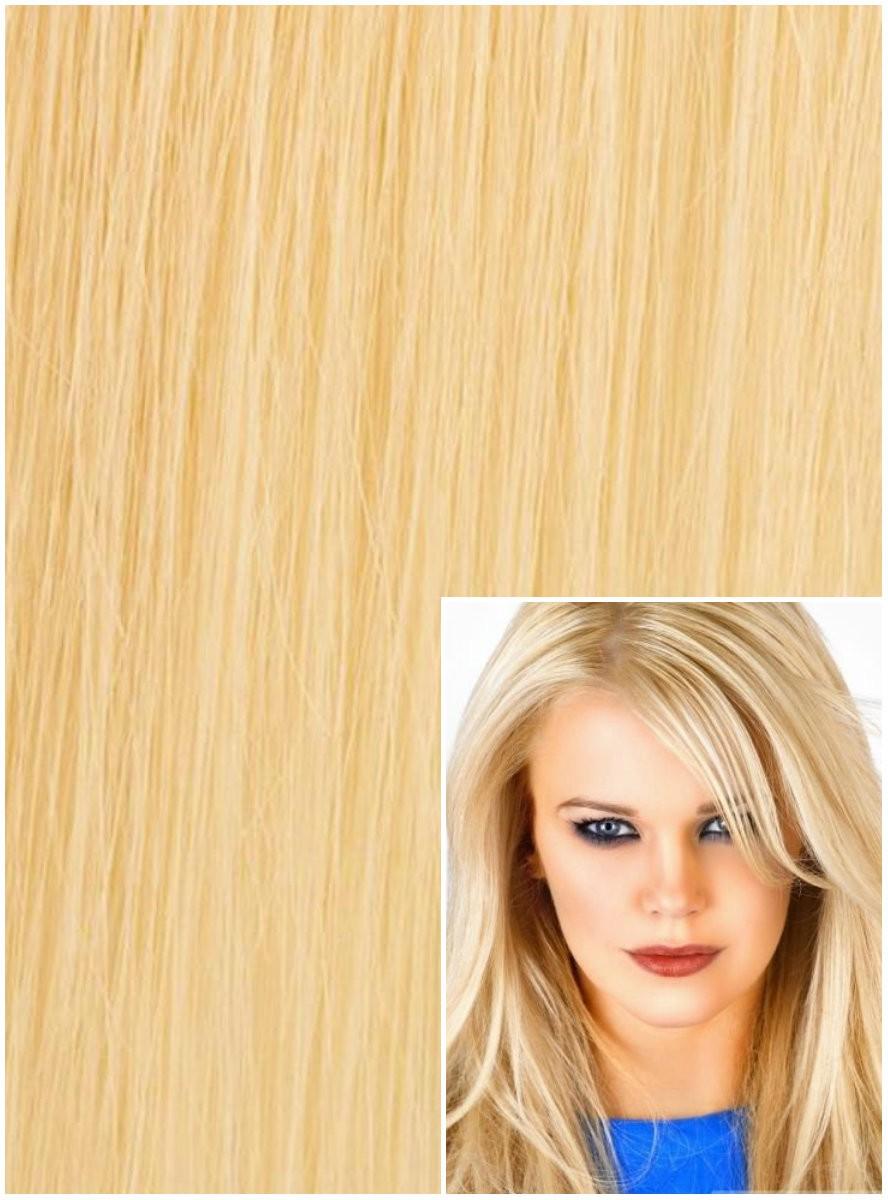 DELUXE Clip in 60cm 240g REMY lidské vlasy - NEJSVĚTLĚJŠÍ BLOND