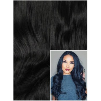 VLNITÉ DELUXE Clip in 50cm 20g REMY lidské vlasy - ČERNÉ