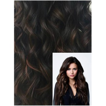 VLNITÉ DELUXE Clip in 50cm 200g REMY lidské vlasy - TMAVĚ HNĚDÉ