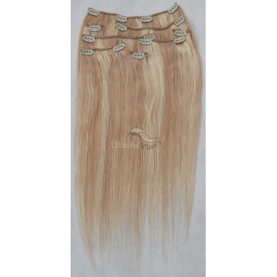 Melírované (tmavé/nejsvětlejší blond) vlasy - Clip in set, 8 ks, 50 cm (027/613)