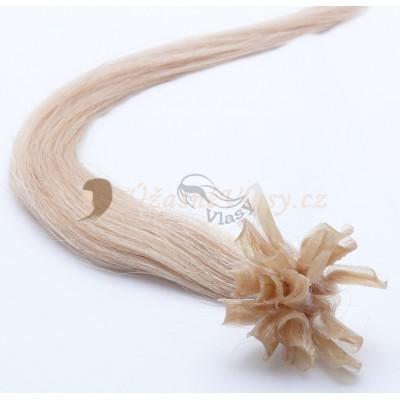 Zlatavé blond vlasy k prodloužení - keratin, 50 cm, 25 pramenů (022)
