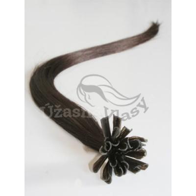 Tmavé hnědé vlasy - keratin, 50 cm, 25 pramenů (002)
