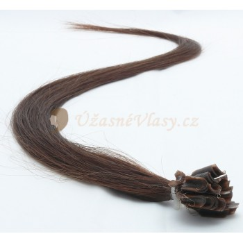 Nejtmavší hnědé vlasy k prodloužení - keratin, 50 cm, 20 pramenů (002)