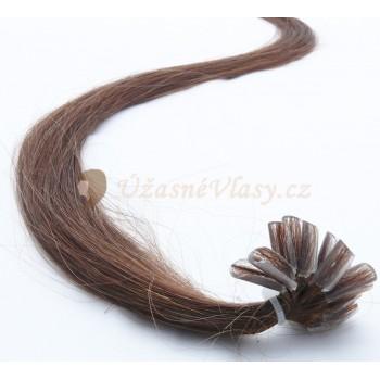 Středně hnědé vlasy k prodloužení - keratin, 50 cm, 20 pramenů (004)