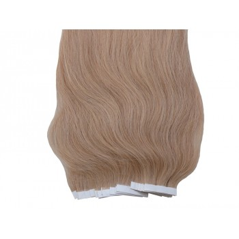 Popelavě blond vlasy k prodloužení - Tape-in REMY proužky, 50 cm (016), 20 ks