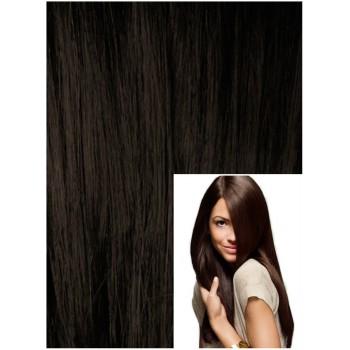 Clip in 60cm 120g  REMY lidské vlasy - TMAVĚ HNĚDÁ