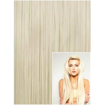 Clip in 70cm 140g  REMY lidské vlasy - PLATINOVÉ