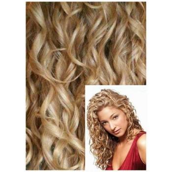 Clip in KUDRNATÉ 50cm 100g  REMY lidské vlasy - SVĚTLÝ MELÍR