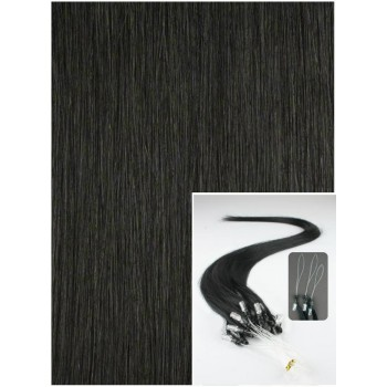Micro ring vlasy, 60 cm 0,5g/pr., 50 pramenů - ČERNÉ