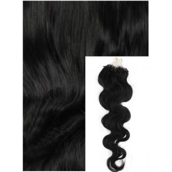 Vlnité micro ring vlasy, 50 cm 0,7g/pr., 50 pramenů - černé