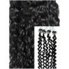 Kudrnaté micro ring vlasy, 50 cm 0,7g/pr., 50 pramenů - černé