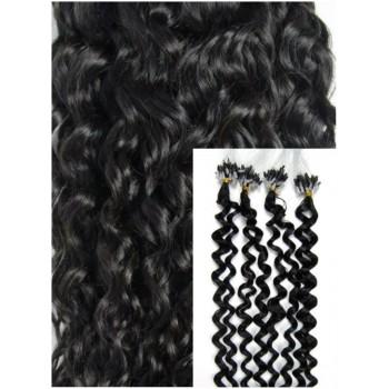 Kudrnaté micro ring vlasy, 60 cm 0,7g/pr., 50 pramenů - černé