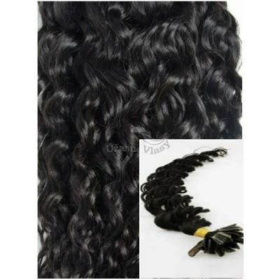 Kudrnaté vlasy na keratin, 60 cm 0,7g/pr., 50 pramenů - ČERNÉ