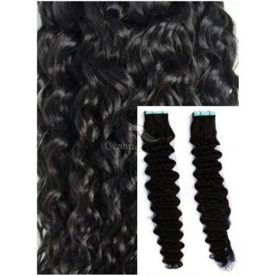 Kudrnaté vlasy k prodloužení tape in, 50 cm, 40 ks - ČERNÉ
