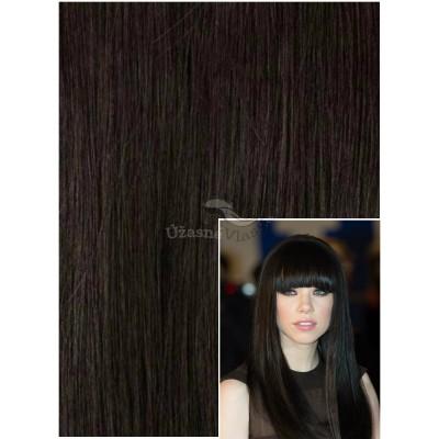 Vlasy k prodloužení tape in, 50 cm, 40 ks - PŘÍRODNĚ ČERNÉ