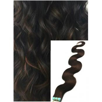 Vlnité vlasy k prodloužení tape in, 50 cm, 40 ks - TMAVĚ HNĚDÉ