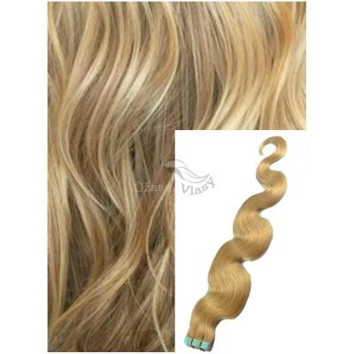 Vlnité vlasy k prodloužení tape in, 50 cm, 40 ks - PŘÍRODNÍ BLOND