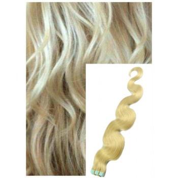 Vlnité vlasy k prodloužení tape in, 50 cm, 40 ks - NEJSVĚTLEJŠÍ BLOND