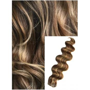 Vlnité vlasy k prodloužení tape in, 50 cm, 40 ks - TMAVÝ MELÍR