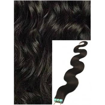 Vlnité vlasy k prodloužení tape in, 60 cm, 40 ks - PŘÍRODNĚ ČERNÉ
