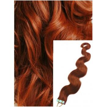Vlnité vlasy k prodloužení tape in, 60 cm, 40 ks - MĚDĚNÉ