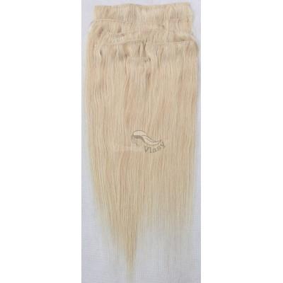 Zlatavé blond vlasy k prodloužení - Clip in set, 8 ks, 50 cm (022)