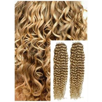 Kudrnaté vlasy k prodloužení tape in, 50 cm, 40 ks - PŘÍRODNÍ BLOND
