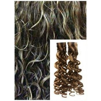 Kudrnaté vlasy k prodloužení tape in, 50 cm, 40 ks - TMAVÝ MELÍR