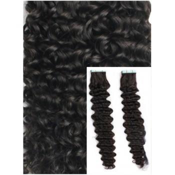 Kudrnaté vlasy k prodloužení tape in, 60 cm, 40 ks - PŘÍRODNĚ ČERNÉ
