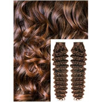 Kudrnaté vlasy k prodloužení tape in, 60 cm, 40 ks - STŘEDNĚ HNĚDÉ