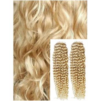 Kudrnaté vlasy k prodloužení tape in, 60 cm, 40 ks - NEJSVĚTLEJŠÍ BLOND