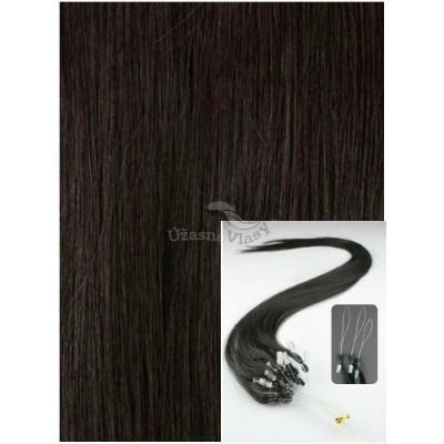 Micro ring vlasy, 40 cm 0,5g/pr., 50 pramenů - PŘÍRODNĚ ČERNÉ