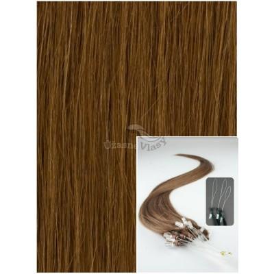 Micro ring vlasy, 40 cm 0,5g/pr., 50 pramenů - SVĚTLEJŠÍ HNĚDÉ