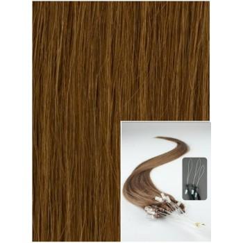 Micro ring vlasy, 60 cm 0,7g/pr., 50 pramenů - SVĚTLEJŠÍ HNĚDÉ