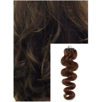 Vlnité micro ring vlasy, 50 cm 0,7g/pr., 50 pramenů - STŘEDNĚ HNĚDÉ