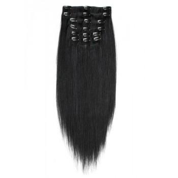 Přírodní černé vlasy k prodloužení - Clip-in set, 8 ks, 50 cm