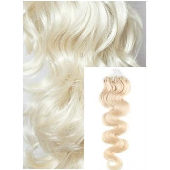 Vlnité micro ring vlasy, 50 cm 0,7g/pr., 50 pramenů - PLATINOVÉ