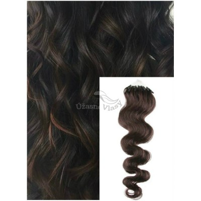 Vlnité micro ring vlasy, 50 cm 0,5g/pr., 50 pramenů - TMAVĚ HNĚDÉ