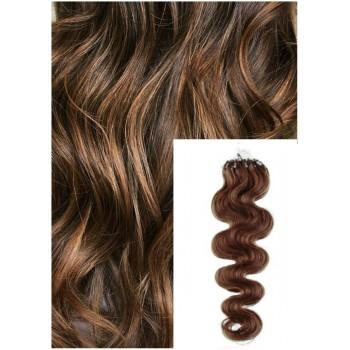 Vlnité micro ring vlasy, 50 cm 0,5g/pr., 50 pramenů - SVĚTLEJŠÍ HNĚDÉ