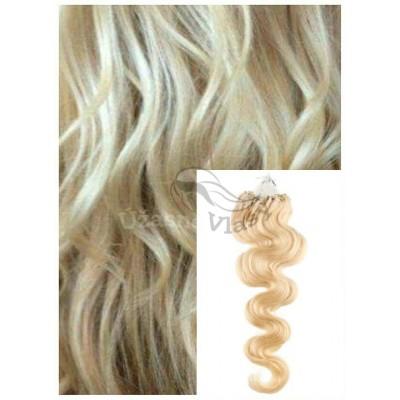 Vlnité micro ring vlasy, 50 cm 0,5g/pr., 50 pramenů - NEJSVĚTLEJŠÍ BLOND