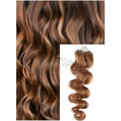 Vlnité micro ring vlasy, 60 cm 0,5g/pr., 50 pramenů - SVĚTLE HNĚDÉ