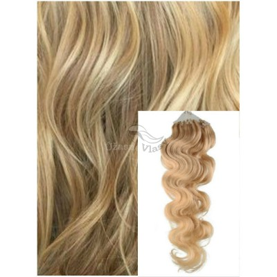 Vlnité micro ring vlasy, 60 cm 0,5g/pr., 50 pramenů - PŘÍRODNÍ BLOND