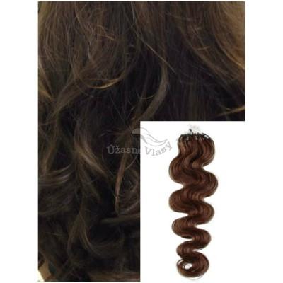Vlnité micro ring vlasy, 60 cm 0,7g/pr., 50 pramenů - STŘEDNĚ HNĚDÉ