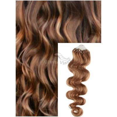 Vlnité micro ring vlasy, 60 cm 0,7g/pr., 50 pramenů - SVĚTLE HNĚDÉ