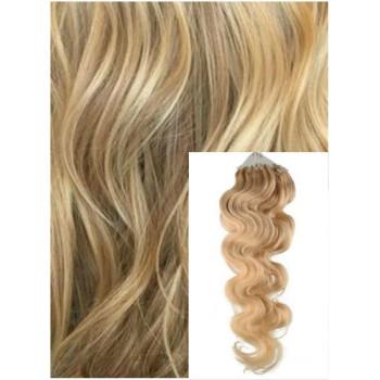 Vlnité micro ring vlasy, 60 cm 0,7g/pr., 50 pramenů - PŘÍRODNÍ BLOND