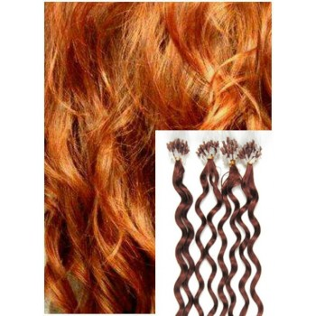 Kudrnaté micro ring vlasy, 50 cm 0,5g/pr., 50 pramenů - MĚDĚNÉ